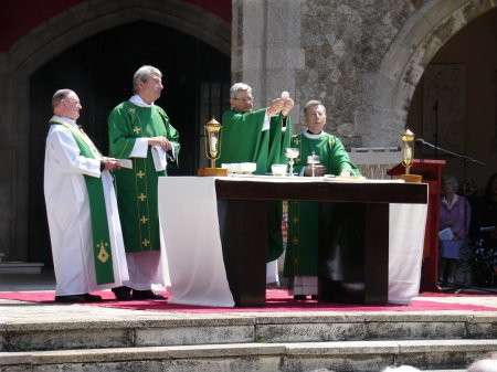 Midday Mass in the open air shrine