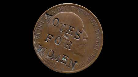 Suffragette-defaced penny