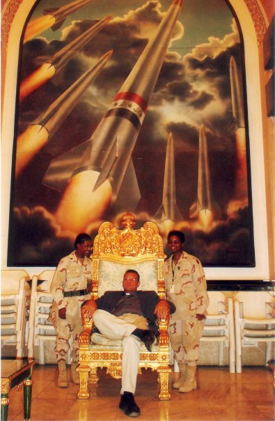 Canon Andrew White sat on Saddam Hussein's throne in the Presidential Palace