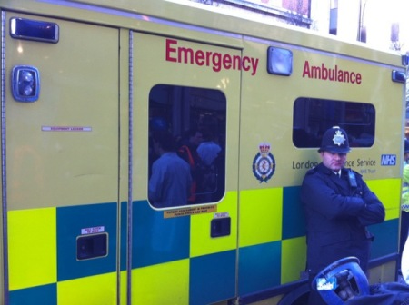 Ambulance for protesters attacked by police