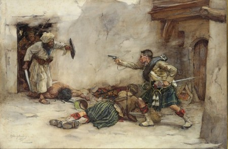 Drummer James Roddick of the 92nd Gordon Highlanders, defending Lieutenant Menzies during hand-to-hand fighting in Kandahar 1880 (1894) -  William Skeoch Cumming (1864-1929)