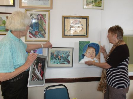 artists on closing day of U3A art exhibition at Guildford Institute