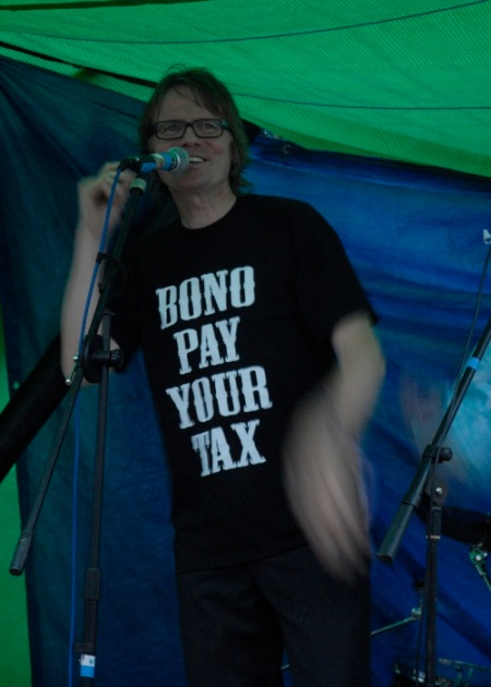 Chumbawamba headlining today at Glastonbury on the Tripod Stage! Great T-shirts!