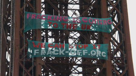FrackOff banner drop Blackpool Tower