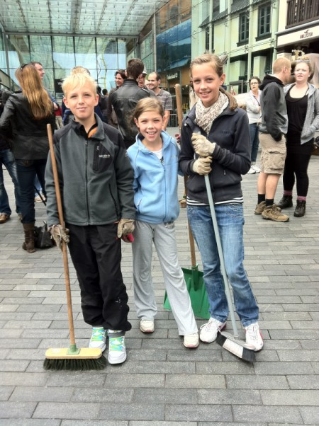 kids from Bromsgrove offering to help with the clean up