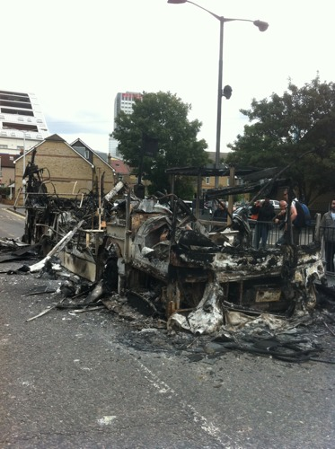 Remains of a burnt out bus in Croydon