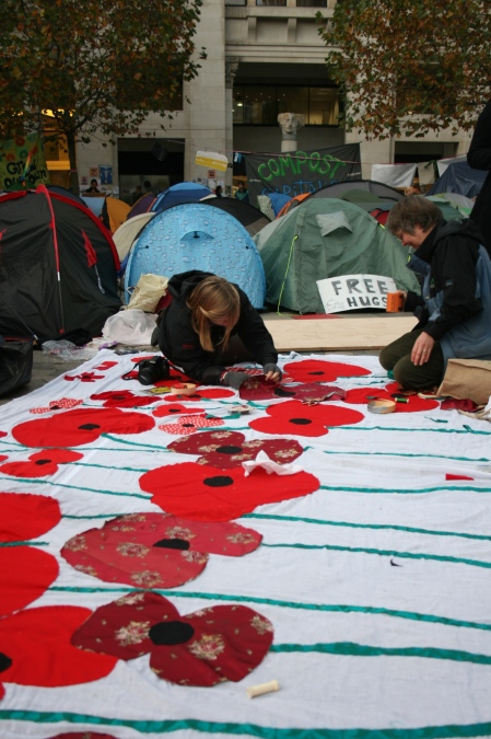 making the poppy banner at St Paul's in-the-Camp
