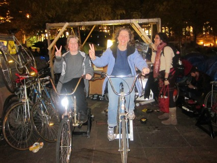 pedal power bike systems that powered the entire camp trashed by NYPD