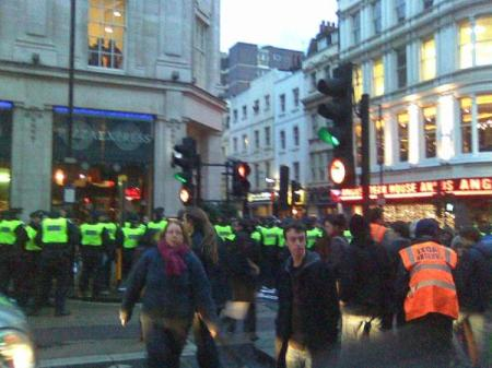 protesters being kettled on Panton Street