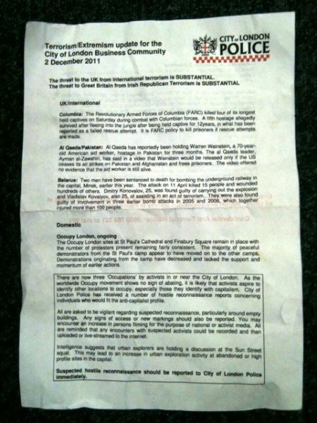 letter from City of London Police terrorist alert