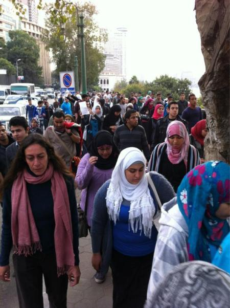 students march from Cairo University to Tahrir