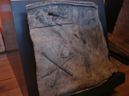 Roman lead water tank with Christian imagery