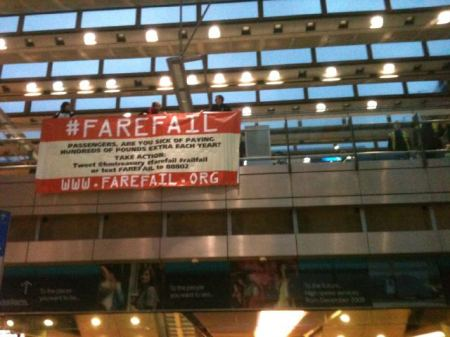 #farefail banner drop at St Pancras