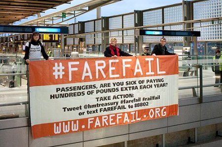#farefail banner at St Pancras station
