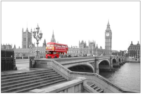 Who owns the copyright to the iconic image of a London double-decker red bus?