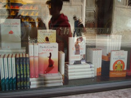 Wonderful display of Paulo Coelho books in window of Libreria Palazzo Roberti