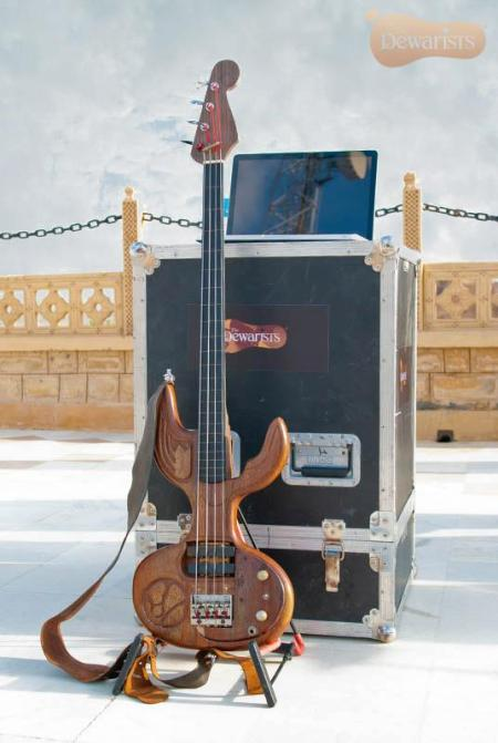 Shri's unique, self-made bass guitar
