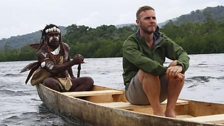 Gary Barlow in native canoe in Solomon Islands