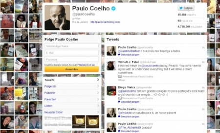 Screenshot of Paulo Coelho's Twitter account