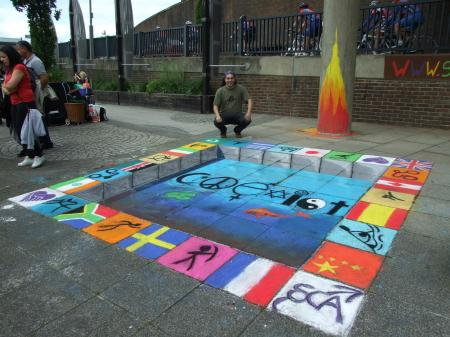 Chalk mural | Peace through coexistence and diversity