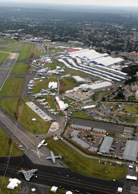 helicopter view of Farnborough International Airshow