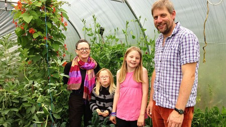 Martha Payne and family in polytunnel