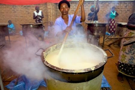 cooking porridge in Malawi
