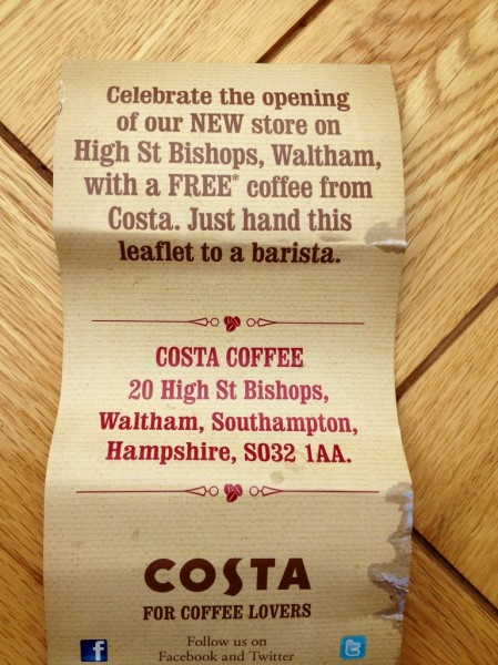 Costa free voucher cannot even give the stuff away