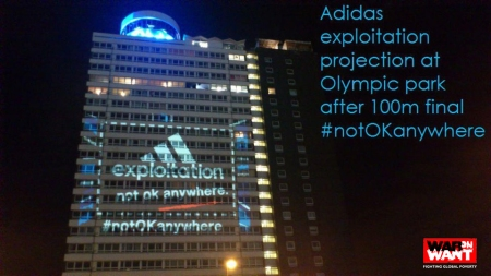 Adidas exploitation projection at Olympic Park