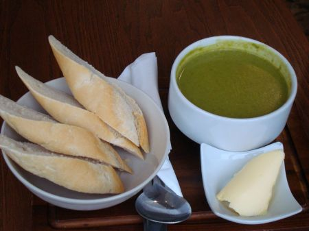 spinach, pea & mint soup