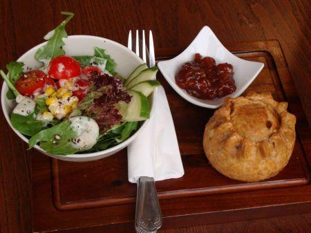 pork pie and salad