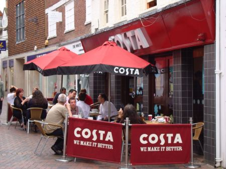Costa obstructing the highway in Guildford
