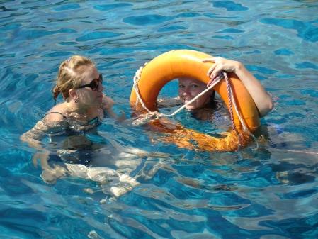 swimming in the sea
