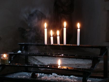 candles lit in Godalming Parish Church