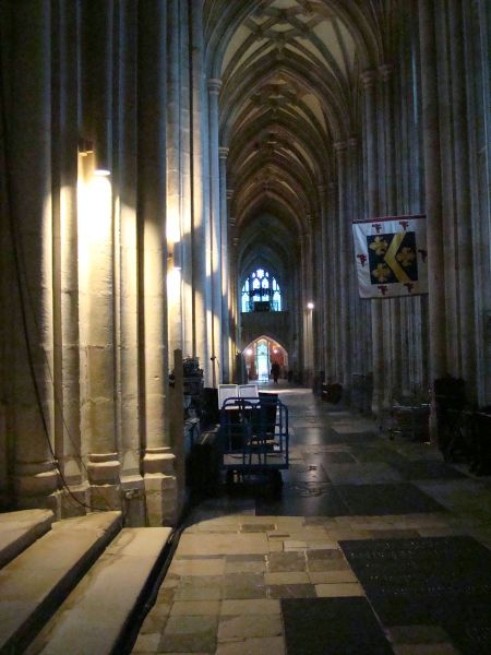 dusk inside Winchester Cathedral