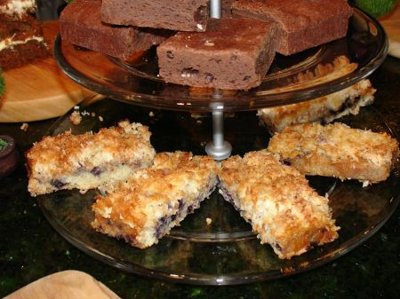 coconut slice with blueberries