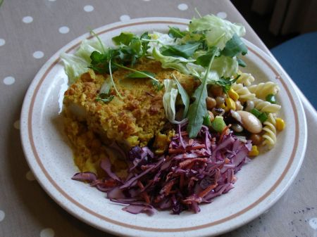 chickpea bake with salad