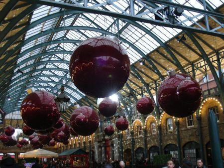 Christmas Decorations in Apple Market in Covent Garden