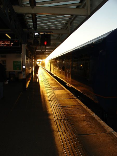 setting sun at Surbiton Station