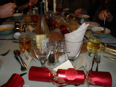 Christmas dinner: table laid