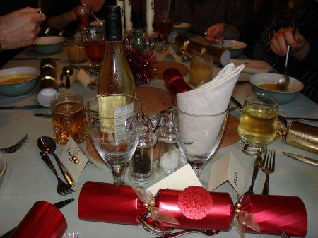 Christmas dinner: table laid