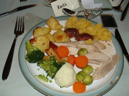 Christmas dinner:  roast turkey with all the trimmings