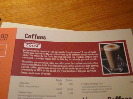 Costa Coffee pushed in your face