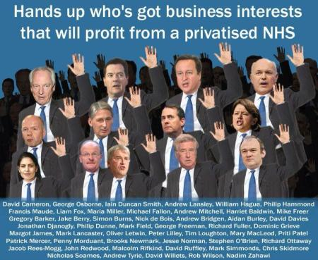 hands up who benefits from a privatised NHS