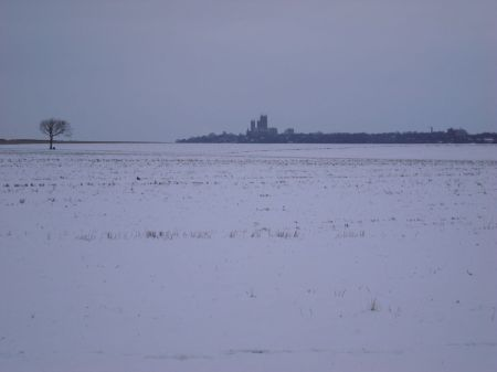 Lincoln Cathedral seen across snowy landscape