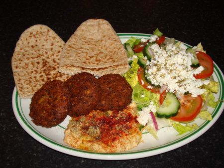 falafel and Greek salad