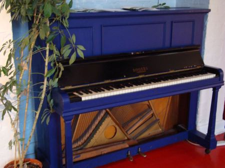 upright piano in the bar
