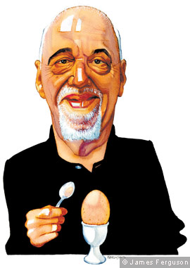 Paulo Coelho with an egg