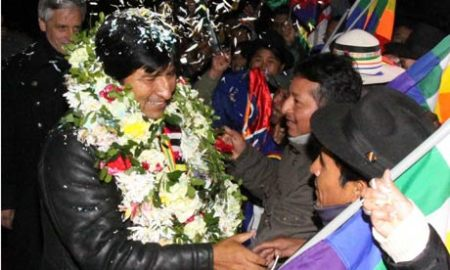 President Evo Morales arrives at El Alto airport in La Paz
