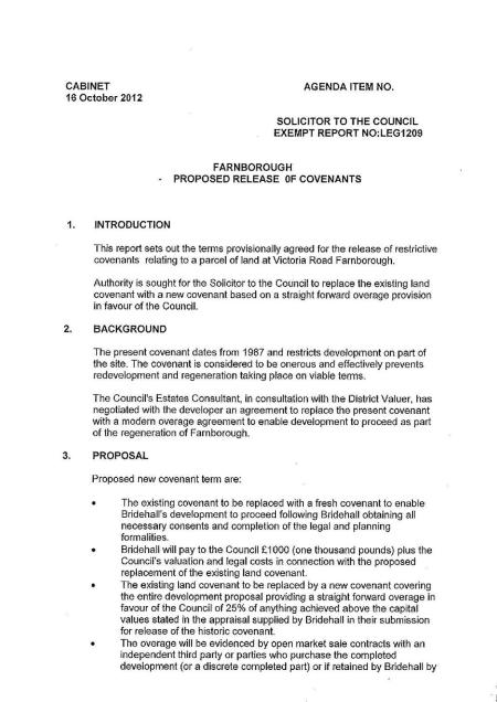 secret report on quashing restrictive covenant